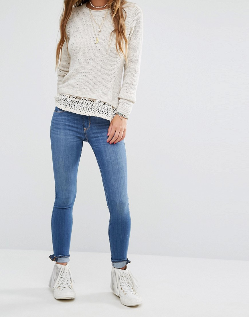 Supersoft Skinny Jeans With Ankle Zip Blue - style: skinny leg; length: standard; pattern: plain; pocket detail: traditional 5 pocket; waist: mid/regular rise; predominant colour: denim; occasions: casual; fibres: cotton - stretch; jeans detail: washed/faded; texture group: denim; pattern type: fabric; embellishment: zips; wardrobe: basic; season: a/w 2016