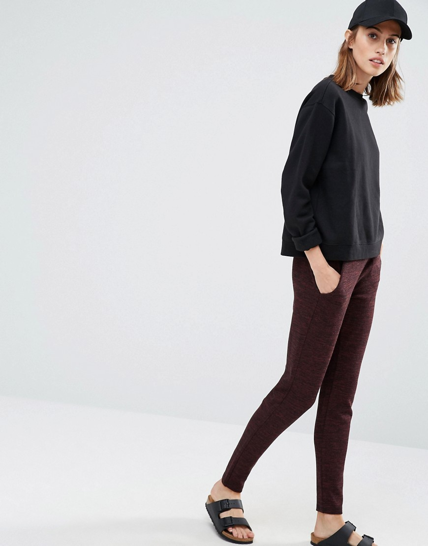 Knitted Staight Leg Trousers Chocolate - length: standard; pattern: plain; waist: mid/regular rise; predominant colour: chocolate brown; occasions: casual, creative work; fibres: polyester/polyamide - mix; fit: slim leg; pattern type: fabric; texture group: woven light midweight; style: standard; season: a/w 2016