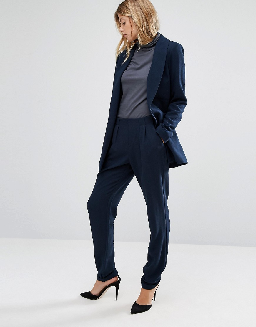 Tailored Peg Trousers Navy - length: standard; pattern: plain; style: peg leg; waist: mid/regular rise; predominant colour: navy; occasions: work; fibres: polyester/polyamide - 100%; texture group: crepes; fit: tapered; pattern type: fabric; wardrobe: basic; season: a/w 2016