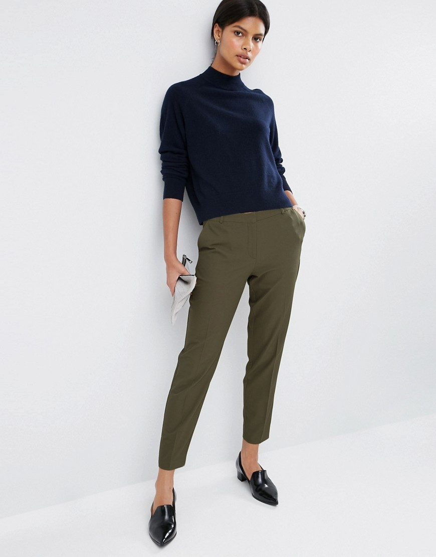 Premium Textured Slim Trousers Olive - pattern: plain; style: peg leg; waist: mid/regular rise; predominant colour: dark green; length: ankle length; fibres: polyester/polyamide - 100%; texture group: crepes; fit: slim leg; pattern type: fabric; occasions: creative work; season: a/w 2016; wardrobe: highlight
