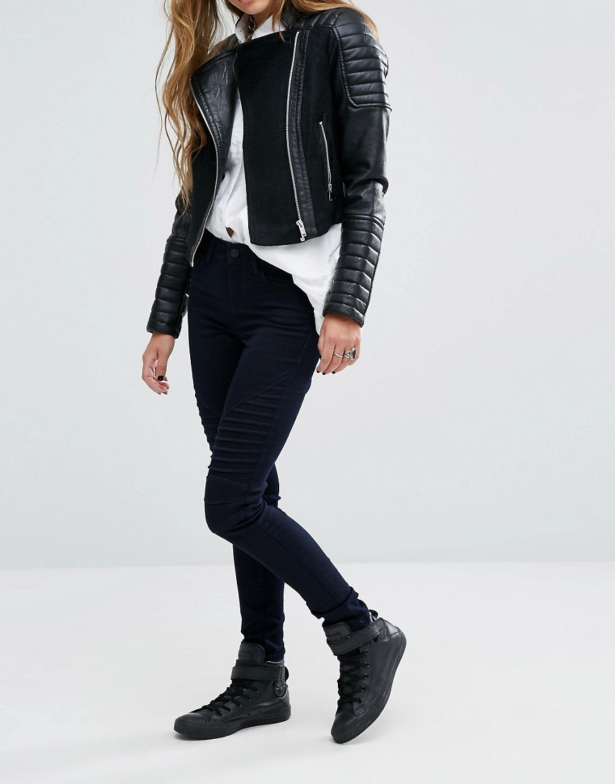 Lucy Mid Waist Biker Skinny Jeans Black - style: skinny leg; length: standard; pattern: plain; pocket detail: traditional 5 pocket; waist: mid/regular rise; predominant colour: black; occasions: casual; fibres: cotton - stretch; texture group: denim; pattern type: fabric; wardrobe: basic; season: a/w 2016