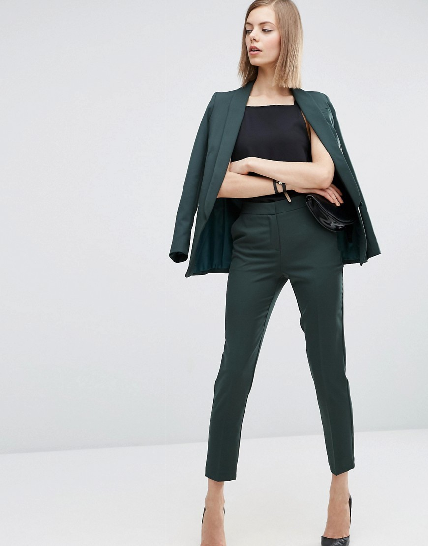 Premium Clean Tailored Trousers Forest - pattern: plain; waist: mid/regular rise; predominant colour: dark green; length: ankle length; fibres: polyester/polyamide - stretch; fit: slim leg; pattern type: fabric; texture group: woven light midweight; style: standard; occasions: creative work; season: a/w 2016