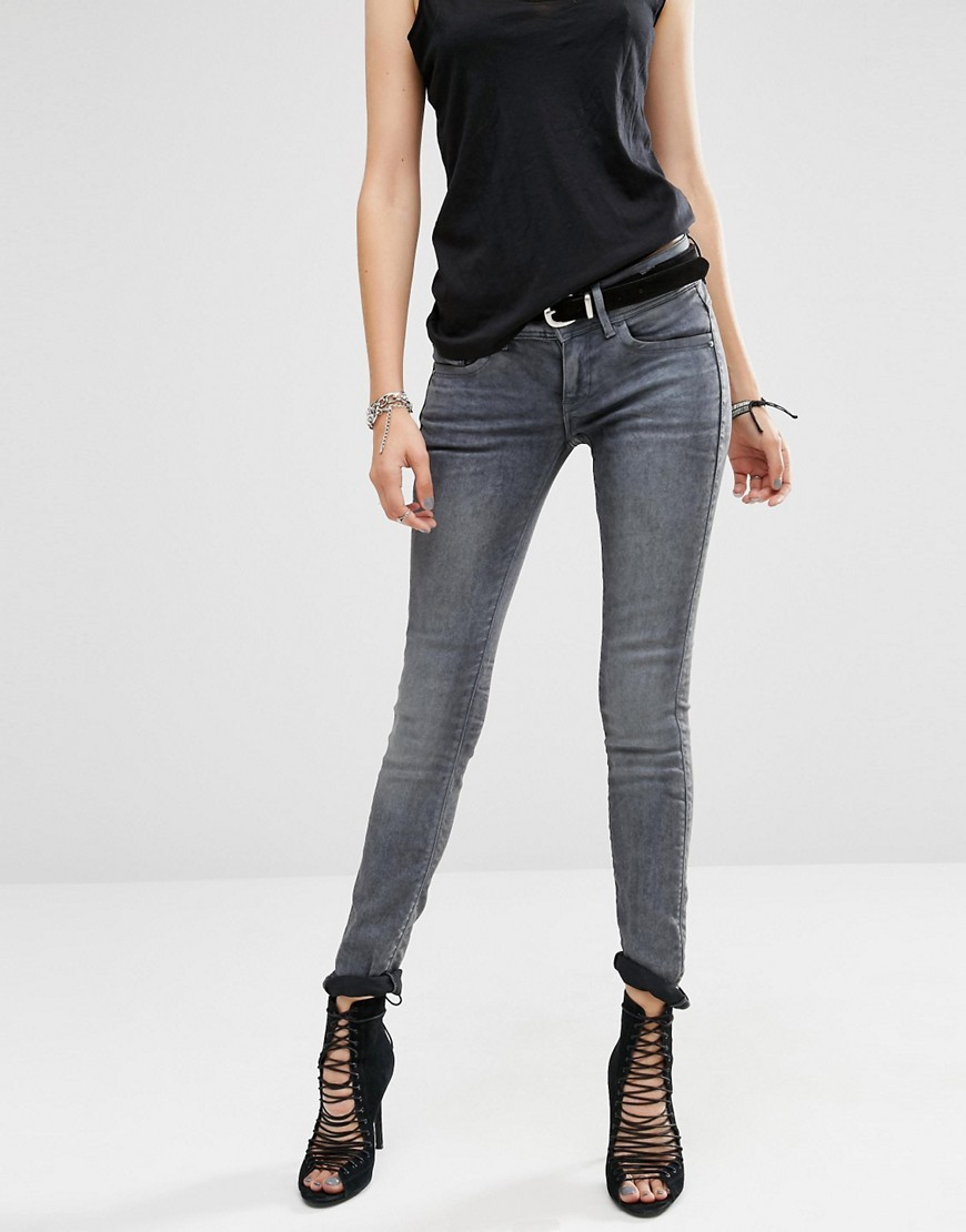 Lynn Mid Rise Skinny Jeans Blue - style: skinny leg; length: standard; pattern: plain; pocket detail: traditional 5 pocket; waist: mid/regular rise; predominant colour: mid grey; occasions: casual, creative work; fibres: cotton - stretch; jeans detail: whiskering; texture group: denim; pattern type: fabric; season: a/w 2016; wardrobe: highlight