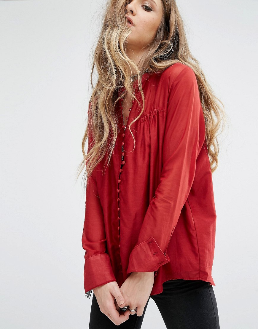 Through And Through Top Red - neckline: v-neck; pattern: plain; predominant colour: true red; occasions: casual; length: standard; style: top; fibres: silk - mix; fit: body skimming; sleeve length: long sleeve; sleeve style: standard; pattern type: fabric; texture group: woven light midweight; season: a/w 2016; wardrobe: highlight