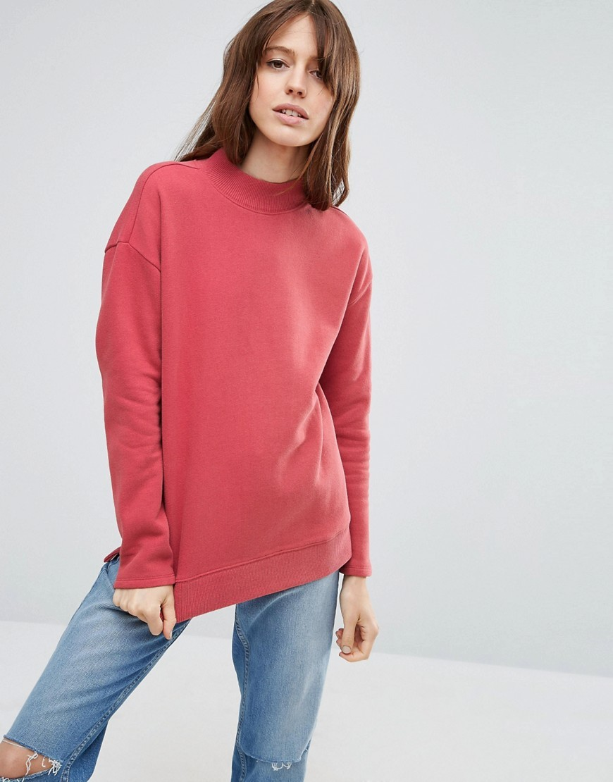 High Neck Sweatshirt Lobster Pink - pattern: plain; neckline: high neck; length: below the bottom; style: sweat top; predominant colour: pink; occasions: casual, creative work; fibres: cotton - mix; fit: straight cut; sleeve length: long sleeve; sleeve style: standard; pattern type: fabric; pattern size: standard; texture group: jersey - stretchy/drapey; season: a/w 2016; wardrobe: highlight