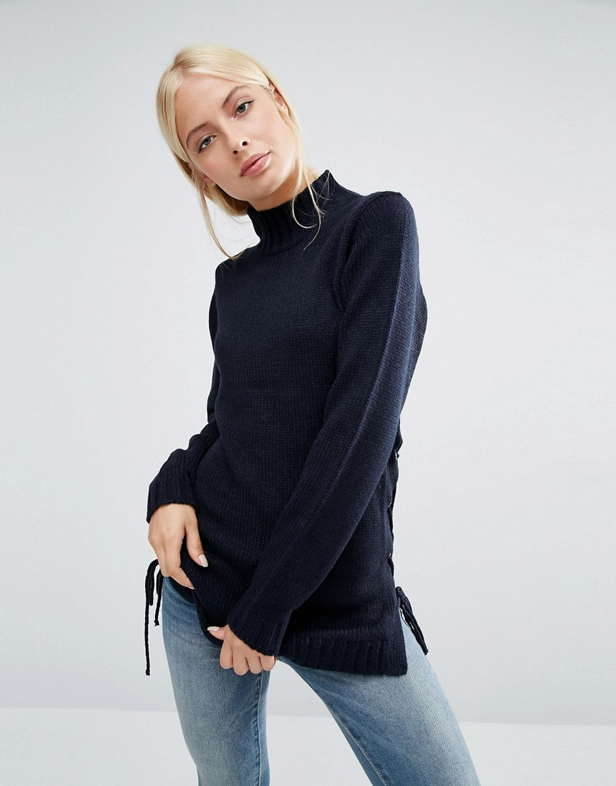 Jumper With Lace Up Side Navy - pattern: plain; neckline: high neck; length: below the bottom; style: standard; predominant colour: navy; occasions: casual, work, creative work; fibres: acrylic - 100%; fit: loose; hip detail: adds bulk at the hips; sleeve length: long sleeve; sleeve style: standard; texture group: knits/crochet; pattern type: knitted - fine stitch; season: a/w 2016; wardrobe: highlight