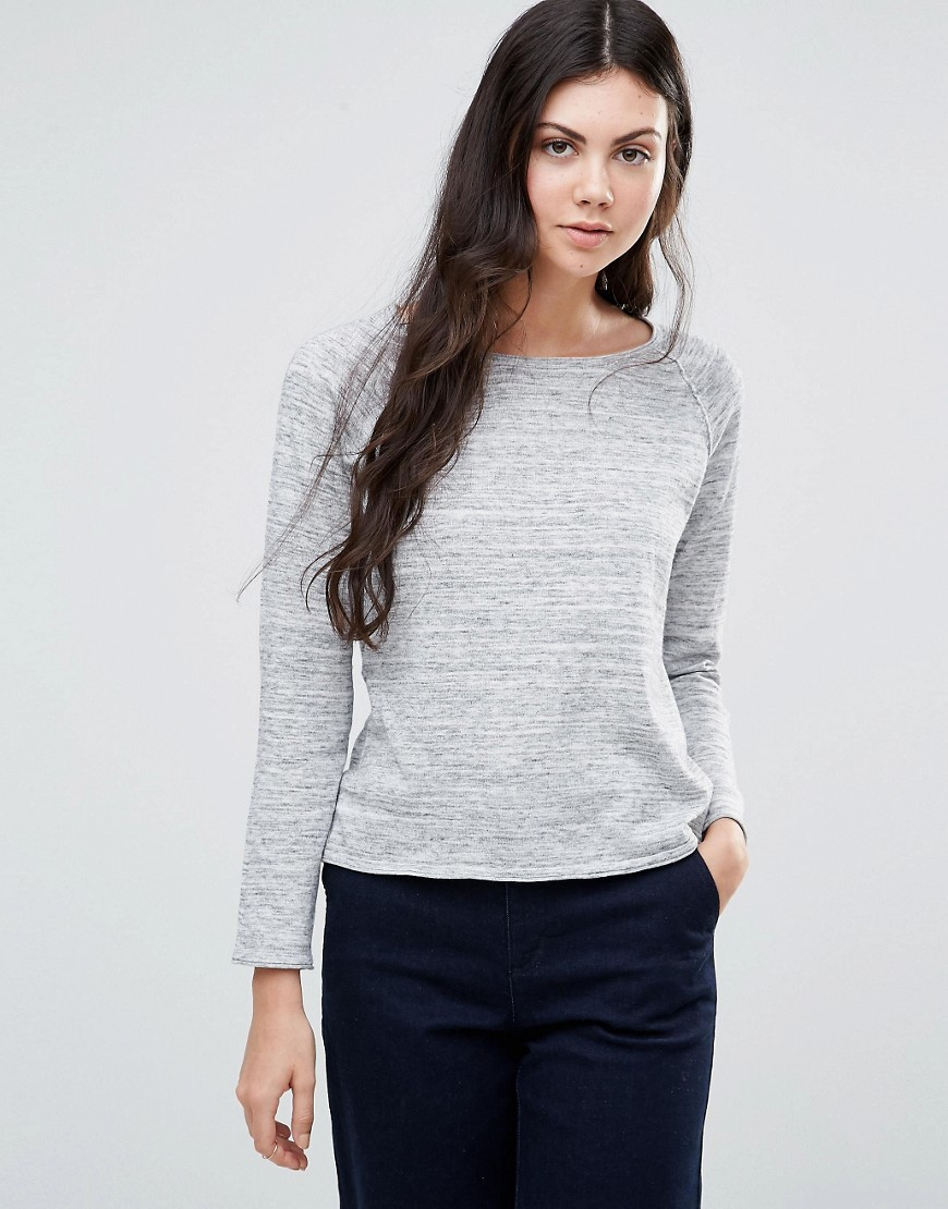Ditta Jumper Light Grey - style: standard; predominant colour: light grey; occasions: casual, creative work; length: standard; fibres: cotton - 100%; fit: standard fit; neckline: crew; sleeve length: long sleeve; sleeve style: standard; texture group: knits/crochet; pattern type: knitted - fine stitch; pattern size: standard; pattern: marl; wardrobe: basic; season: a/w 2016