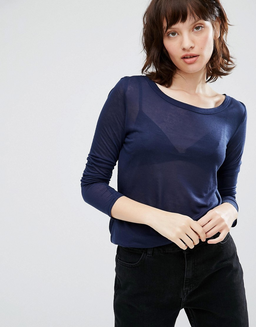 Ritte Long Sleeve Top Dark Iris - neckline: round neck; pattern: plain; predominant colour: navy; occasions: casual, creative work; length: standard; style: top; fibres: polyester/polyamide - 100%; fit: body skimming; sleeve length: 3/4 length; sleeve style: standard; pattern type: fabric; pattern size: standard; texture group: jersey - stretchy/drapey; wardrobe: basic; season: a/w 2016