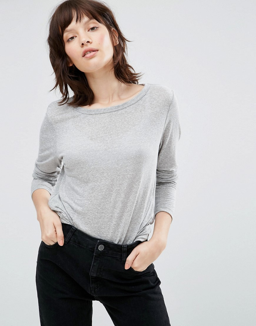Ritte Long Sleeve Top Light Grey - neckline: round neck; pattern: plain; predominant colour: light grey; occasions: casual, work, creative work; length: standard; style: top; fibres: linen - mix; fit: body skimming; sleeve length: 3/4 length; sleeve style: standard; pattern type: fabric; texture group: jersey - stretchy/drapey; wardrobe: basic; season: a/w 2016