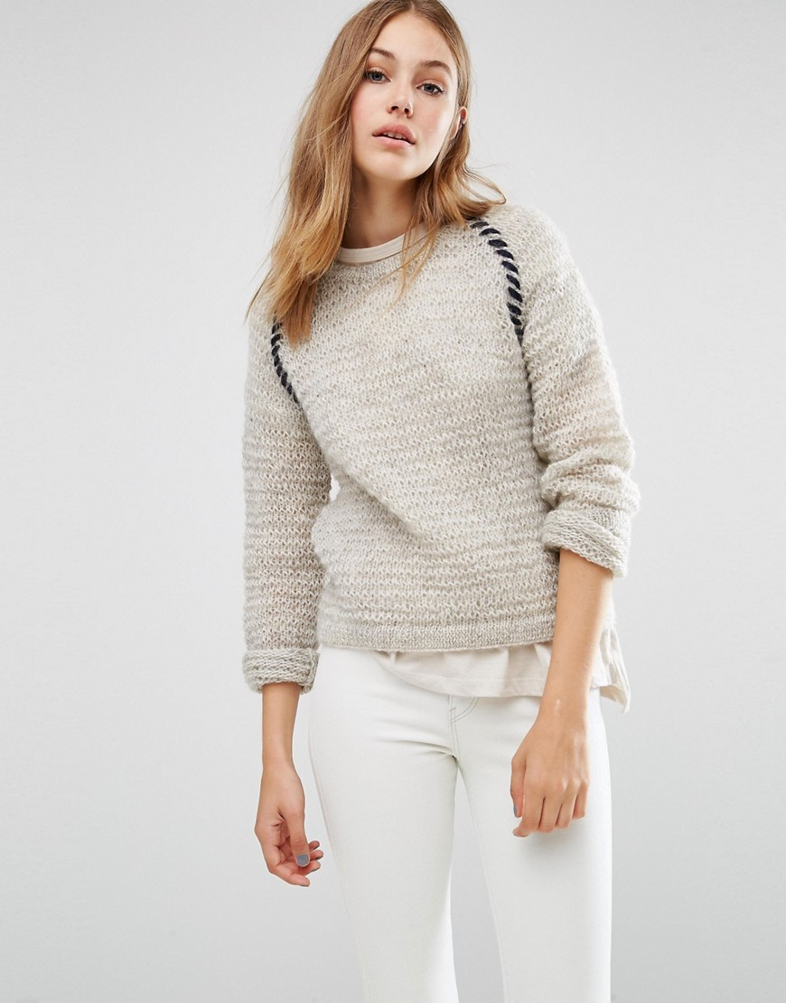 Textured Hand Knit Crew Neck Boyfriend Jumper Light Grey Melange - pattern: plain; neckline: high neck; style: standard; predominant colour: light grey; occasions: casual; length: standard; fibres: wool - 100%; fit: standard fit; sleeve length: 3/4 length; sleeve style: standard; texture group: knits/crochet; pattern type: fabric; wardrobe: basic; season: a/w 2016