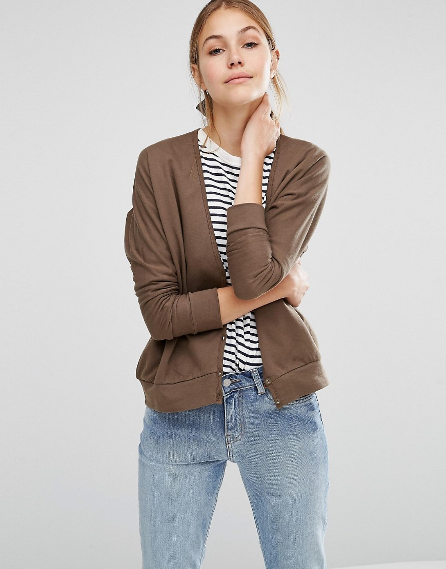 Organic Cotton Long Sleeve Batwing Jersey Cardigan Khaki - neckline: plunge; pattern: plain; predominant colour: khaki; occasions: casual, creative work; length: standard; style: standard; fibres: cotton - mix; fit: standard fit; sleeve length: long sleeve; sleeve style: standard; texture group: knits/crochet; pattern type: knitted - fine stitch; pattern size: standard; wardrobe: basic; season: a/w 2016