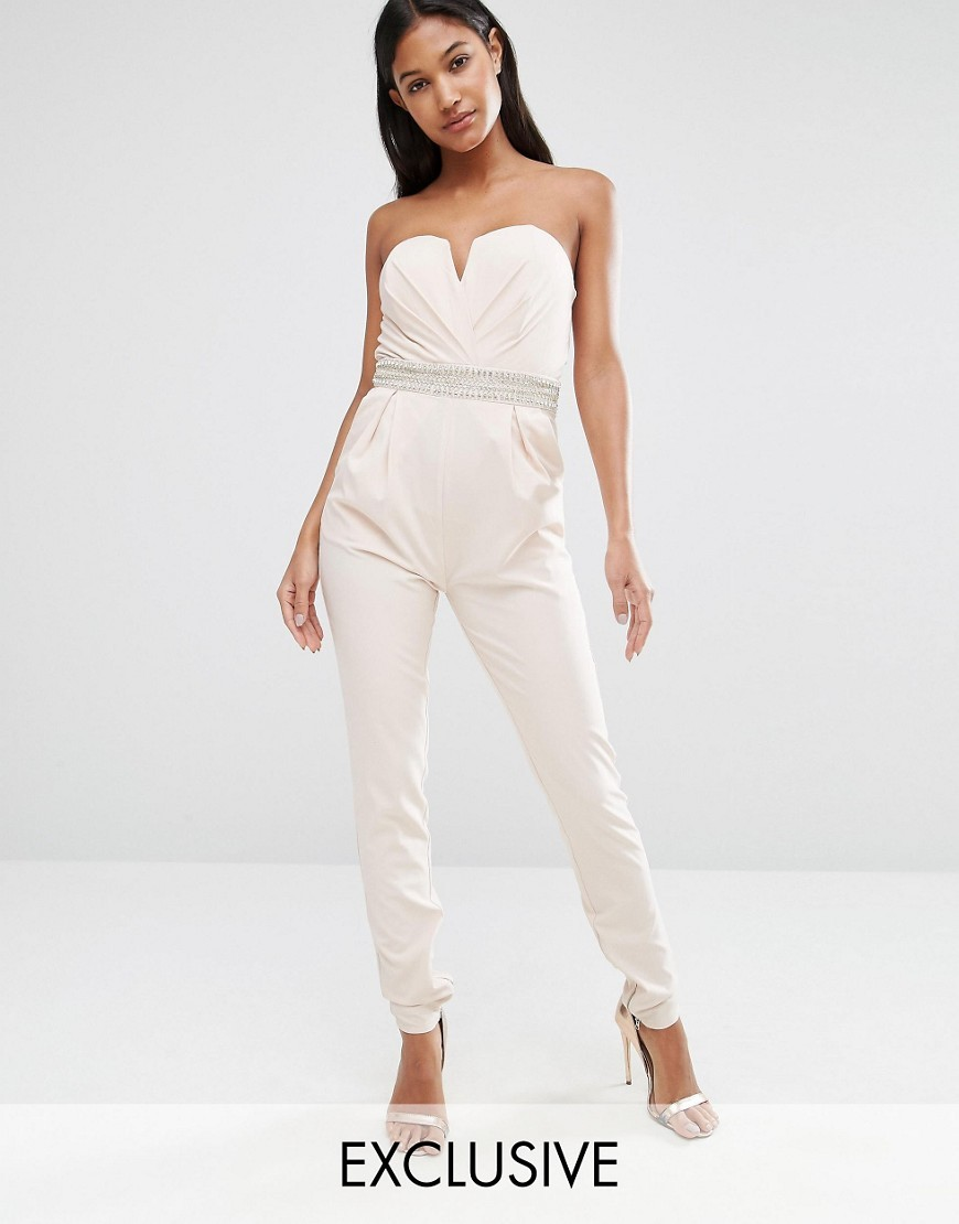 Structured Bandeau Jumpsuit Nude - length: standard; neckline: strapless (straight/sweetheart); fit: tailored/fitted; pattern: plain; sleeve style: strapless; predominant colour: white; occasions: evening; fibres: polyester/polyamide - stretch; hip detail: front pleats at hip level; sleeve length: sleeveless; style: jumpsuit; pattern type: fabric; texture group: other - light to midweight; season: a/w 2016