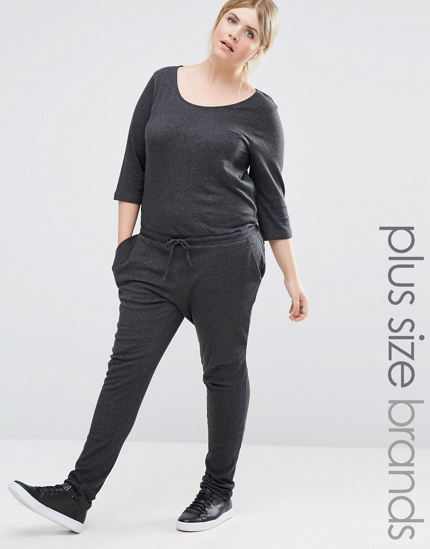 Casual Slouchy Jumpsuit Dark Grey - length: standard; neckline: round neck; pattern: plain; waist detail: belted waist/tie at waist/drawstring; predominant colour: charcoal; occasions: casual; fit: body skimming; fibres: cotton - mix; sleeve length: 3/4 length; sleeve style: standard; style: jumpsuit; pattern type: fabric; texture group: jersey - stretchy/drapey; season: a/w 2016; wardrobe: highlight