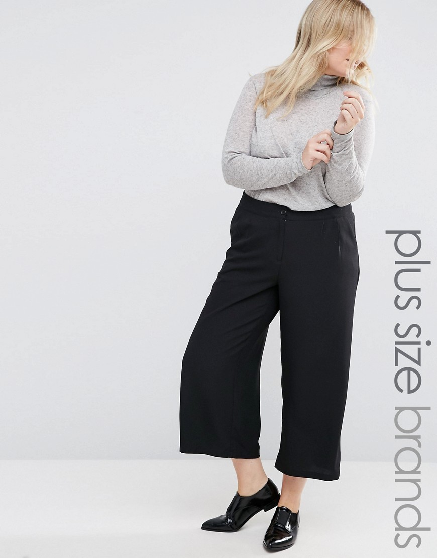 Tailored Culottes Black - pattern: plain; waist: mid/regular rise; predominant colour: black; occasions: casual, creative work; length: calf length; fibres: polyester/polyamide - 100%; fit: wide leg; pattern type: fabric; texture group: woven light midweight; style: standard; pattern size: standard (bottom); wardrobe: basic; season: a/w 2016
