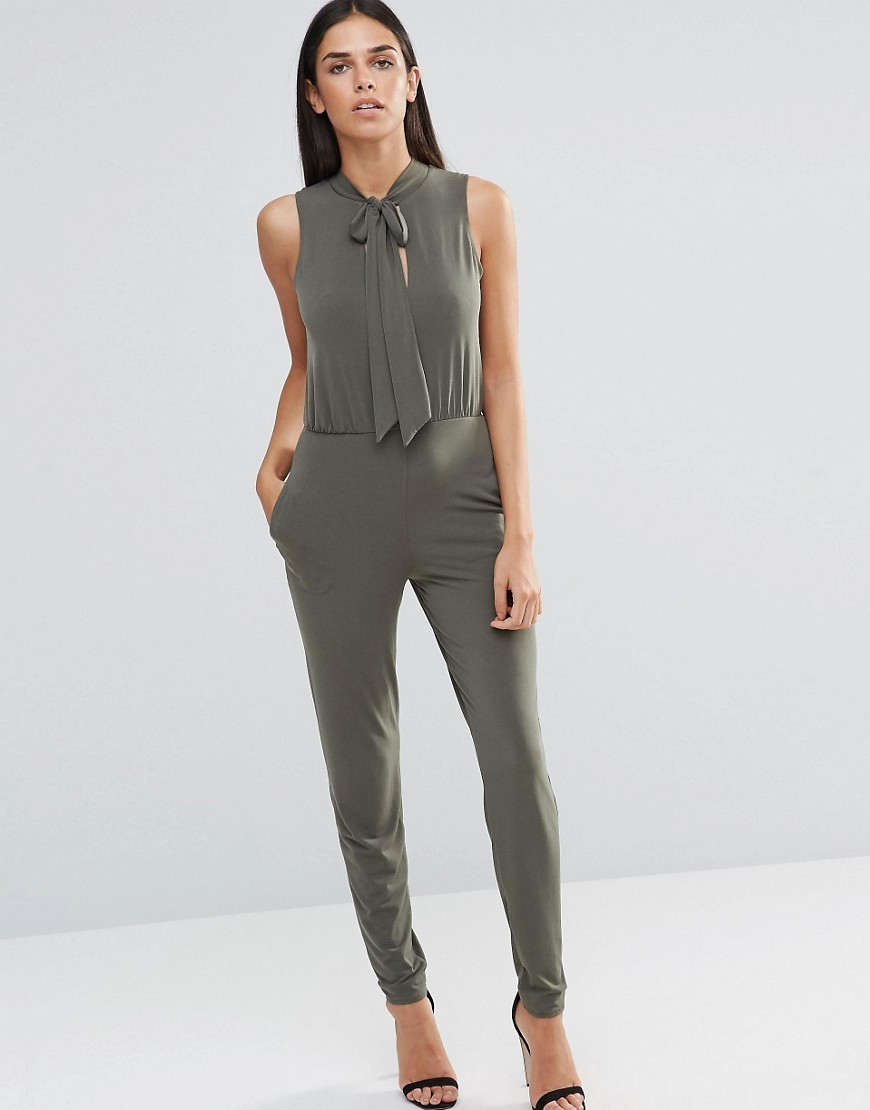 Tie Neck Jumpsuit Khaki - length: standard; pattern: plain; sleeve style: sleeveless; neckline: pussy bow; predominant colour: khaki; occasions: evening; fit: body skimming; fibres: polyester/polyamide - stretch; sleeve length: sleeveless; style: jumpsuit; pattern type: fabric; texture group: jersey - stretchy/drapey; season: a/w 2016; wardrobe: event