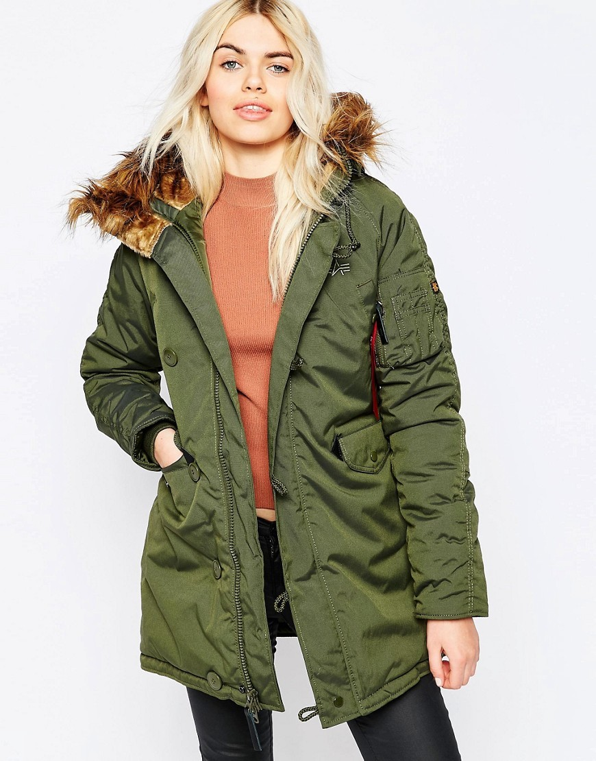 Explorer Parka In Green With Faux Fur Hood Green - pattern: plain; collar: funnel; fit: loose; style: parka; length: mid thigh; predominant colour: khaki; occasions: casual; fibres: nylon - mix; sleeve length: long sleeve; sleeve style: standard; texture group: technical outdoor fabrics; collar break: high; pattern type: fabric; embellishment: fur; season: a/w 2016