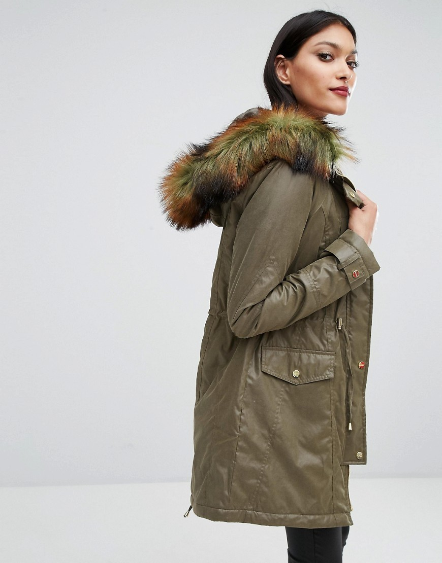 Faux Fur Hood Trim Parka Khaki - pattern: plain; collar: funnel; style: parka; back detail: hood; length: mid thigh; predominant colour: khaki; occasions: casual; fit: straight cut (boxy); fibres: polyester/polyamide - mix; sleeve length: long sleeve; sleeve style: standard; texture group: technical outdoor fabrics; collar break: high; pattern type: fabric; season: a/w 2016; wardrobe: highlight; embellishment: contrast fabric; embellishment location: neck