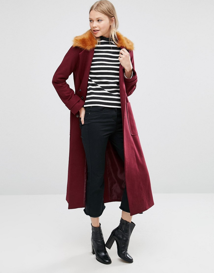 Trapeze Coat In Wool Blend With Fur Collar Berry - pattern: plain; fit: loose; style: single breasted; length: calf length; predominant colour: burgundy; occasions: casual, creative work; fibres: wool - mix; sleeve length: long sleeve; sleeve style: standard; collar: fur; collar break: high; pattern type: fabric; texture group: woven bulky/heavy; season: a/w 2016; wardrobe: highlight; embellishment: contrast fabric; embellishment location: neck