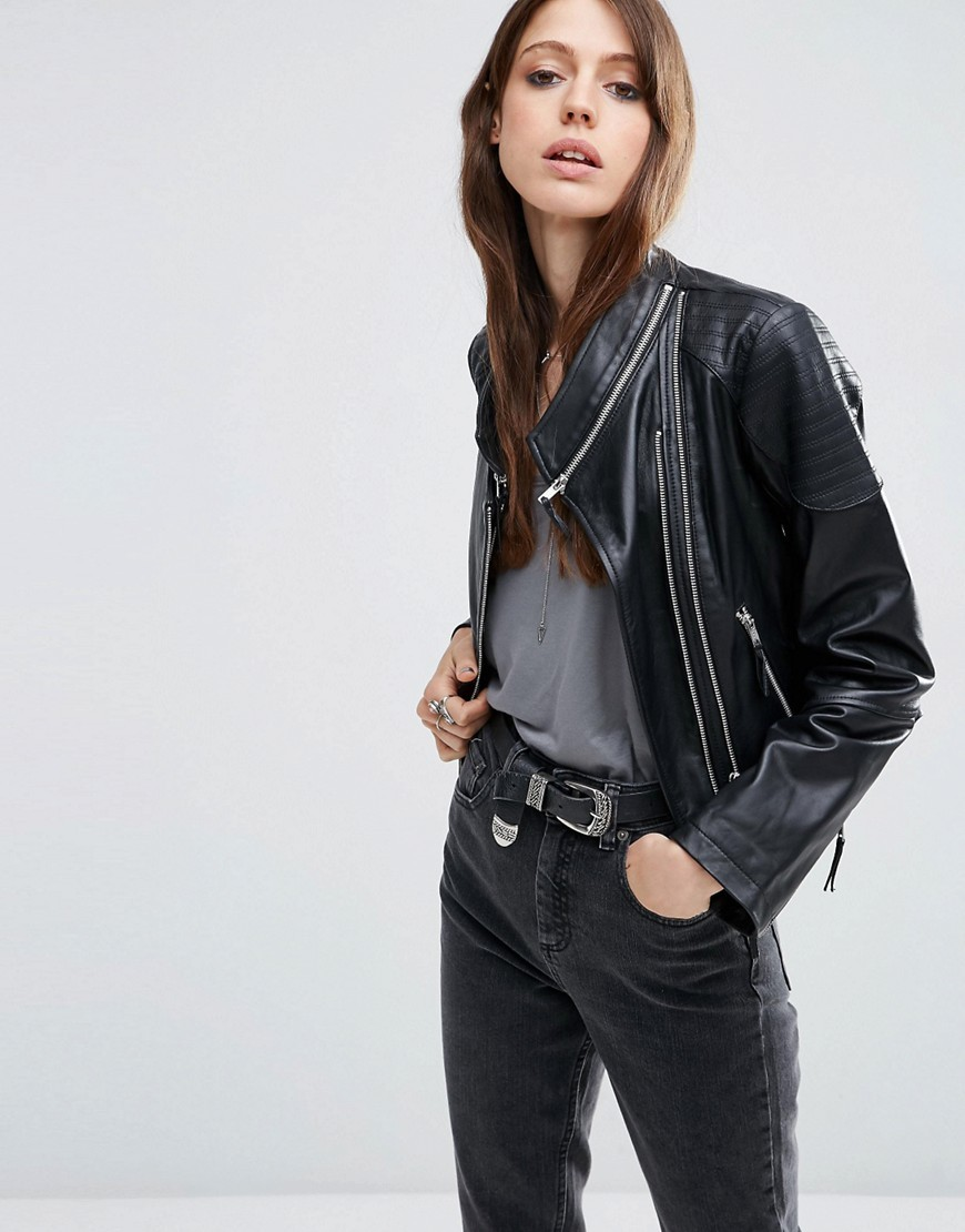 Leather Biker Jacket With Zip Detail Black - pattern: plain; style: biker; collar: asymmetric biker; fit: loose; predominant colour: black; occasions: casual; length: standard; fibres: leather - 100%; sleeve length: long sleeve; sleeve style: standard; texture group: leather; collar break: high; pattern type: fabric; wardrobe: basic; season: a/w 2016