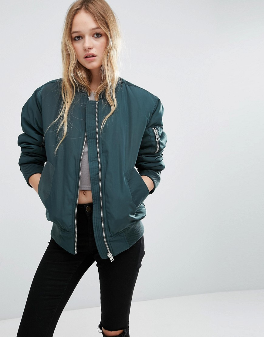 Luxe Padded Bomber Jacket Teal - pattern: plain; collar: round collar/collarless; fit: slim fit; style: bomber; predominant colour: dark green; occasions: casual; length: standard; fibres: polyester/polyamide - 100%; sleeve length: long sleeve; sleeve style: standard; collar break: high; pattern type: fabric; texture group: woven light midweight; season: a/w 2016; wardrobe: highlight