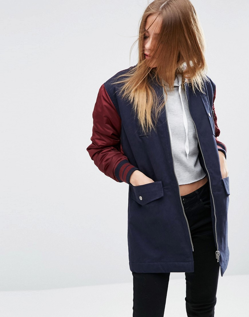 Cotton Jacket With Bomber Back Detail Multi - collar: round collar/collarless; length: below the bottom; style: bomber; secondary colour: burgundy; predominant colour: navy; occasions: casual, creative work; fit: straight cut (boxy); fibres: cotton - mix; sleeve length: long sleeve; sleeve style: standard; texture group: cotton feel fabrics; collar break: high; pattern type: fabric; pattern: colourblock; embellishment: quilted; season: a/w 2016