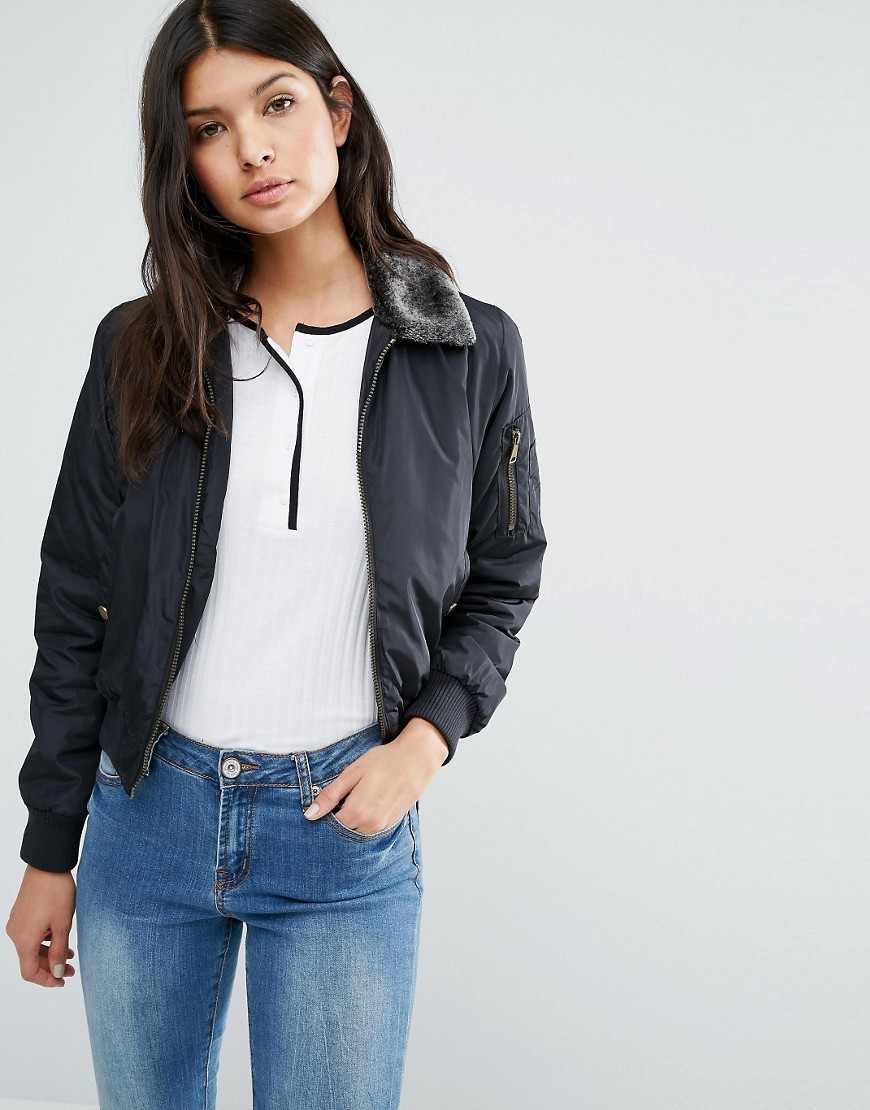 Bomber Jacket With Faux Fur Trim Black - pattern: plain; fit: slim fit; style: bomber; predominant colour: black; occasions: casual; length: standard; fibres: polyester/polyamide - 100%; sleeve length: long sleeve; sleeve style: standard; texture group: technical outdoor fabrics; collar: fur; collar break: high; pattern type: fabric; wardrobe: basic; season: a/w 2016