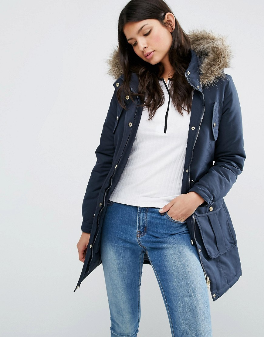 Hooded Parka With Faux Fur Trim Navy - pattern: plain; length: below the bottom; collar: funnel; fit: loose; style: parka; back detail: hood; predominant colour: navy; occasions: casual; fibres: polyester/polyamide - 100%; sleeve length: long sleeve; sleeve style: standard; texture group: technical outdoor fabrics; collar break: high; pattern type: fabric; embellishment: fur; season: a/w 2016; wardrobe: highlight