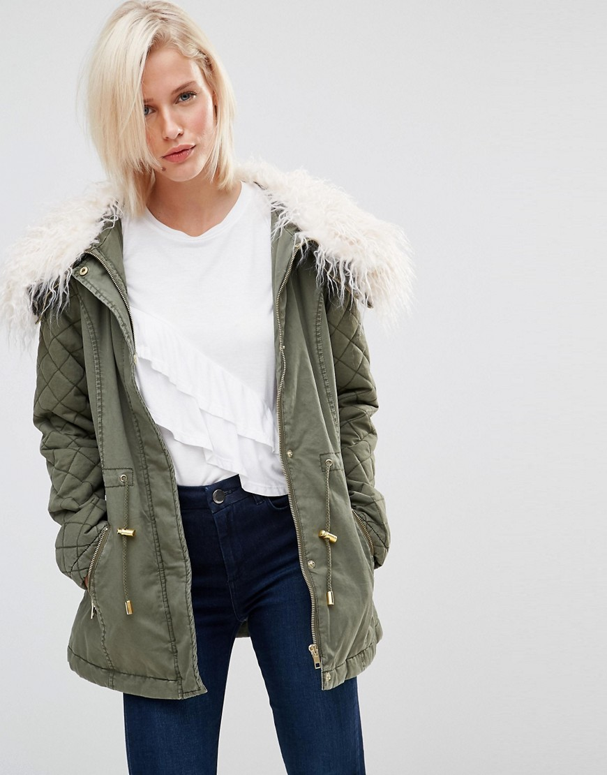 Drawstring Parka With Faux Fur Collar Khaki - pattern: plain; length: below the bottom; collar: funnel; fit: loose; style: parka; back detail: hood; secondary colour: white; predominant colour: khaki; occasions: casual; fibres: cotton - 100%; sleeve length: long sleeve; sleeve style: standard; texture group: technical outdoor fabrics; collar break: high; pattern type: fabric; embellishment: fur; season: a/w 2016; wardrobe: highlight; embellishment location: neck