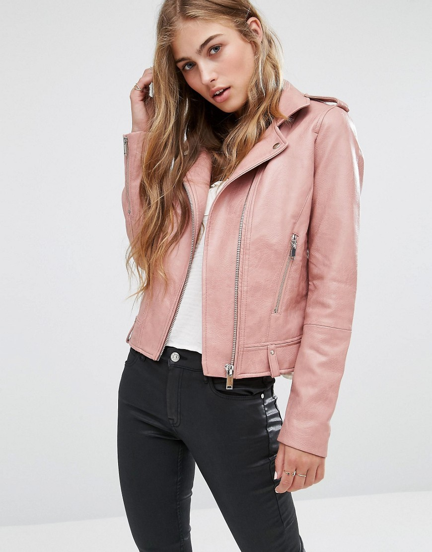 Leather Look Biker Jacket Blush - pattern: plain; style: biker; collar: asymmetric biker; fit: slim fit; predominant colour: blush; occasions: casual; length: standard; fibres: polyester/polyamide - stretch; sleeve length: long sleeve; sleeve style: standard; texture group: leather; collar break: medium; pattern type: fabric; wardrobe: basic; season: a/w 2016