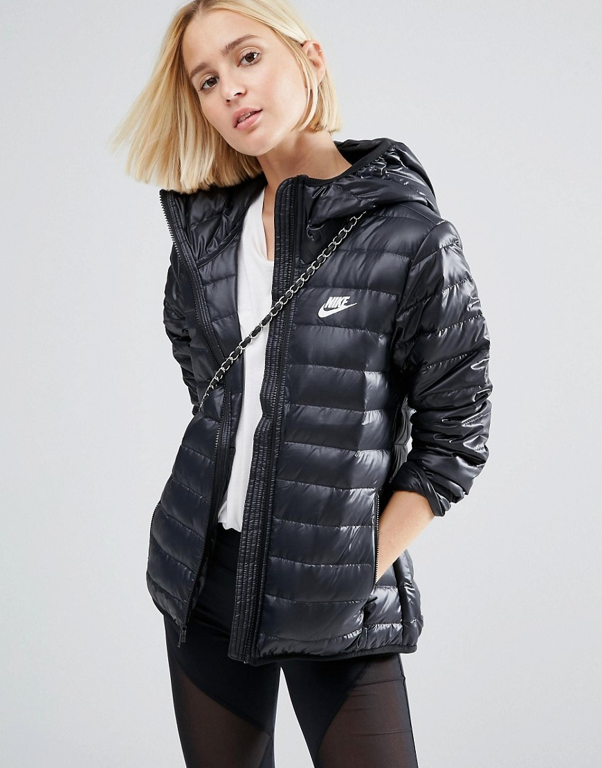 Short Padded Jacket With Hood Black/Black/White - pattern: plain; length: below the bottom; collar: funnel; style: quilted; back detail: hood; predominant colour: black; occasions: casual, creative work; fit: tailored/fitted; fibres: polyester/polyamide - 100%; sleeve length: long sleeve; sleeve style: standard; texture group: technical outdoor fabrics; collar break: high; pattern type: fabric; embellishment: quilted; season: a/w 2016; wardrobe: highlight