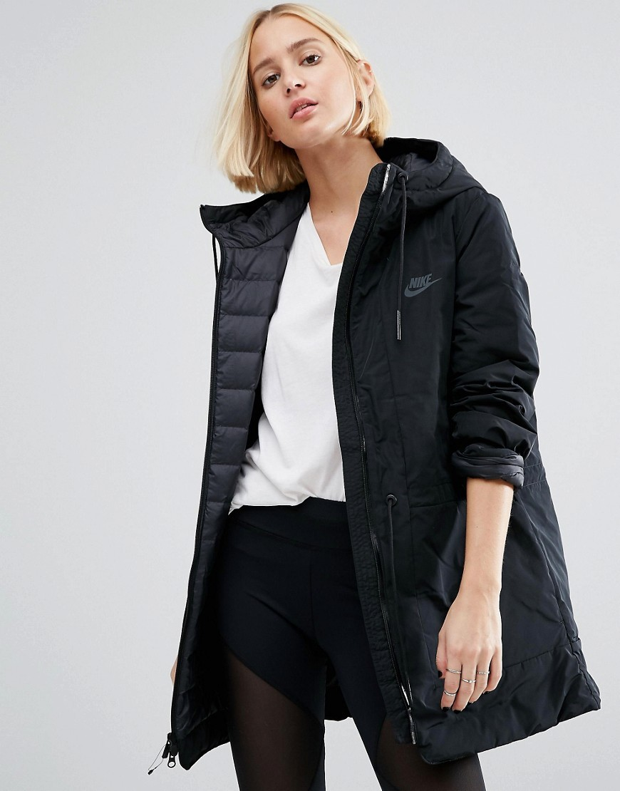 Long Parka Jacket With Hood Black/Anthracite - pattern: plain; collar: funnel; fit: loose; style: parka; length: mid thigh; predominant colour: black; occasions: casual; fibres: polyester/polyamide - 100%; sleeve length: long sleeve; sleeve style: standard; texture group: technical outdoor fabrics; collar break: high; pattern type: fabric; wardrobe: basic; season: a/w 2016