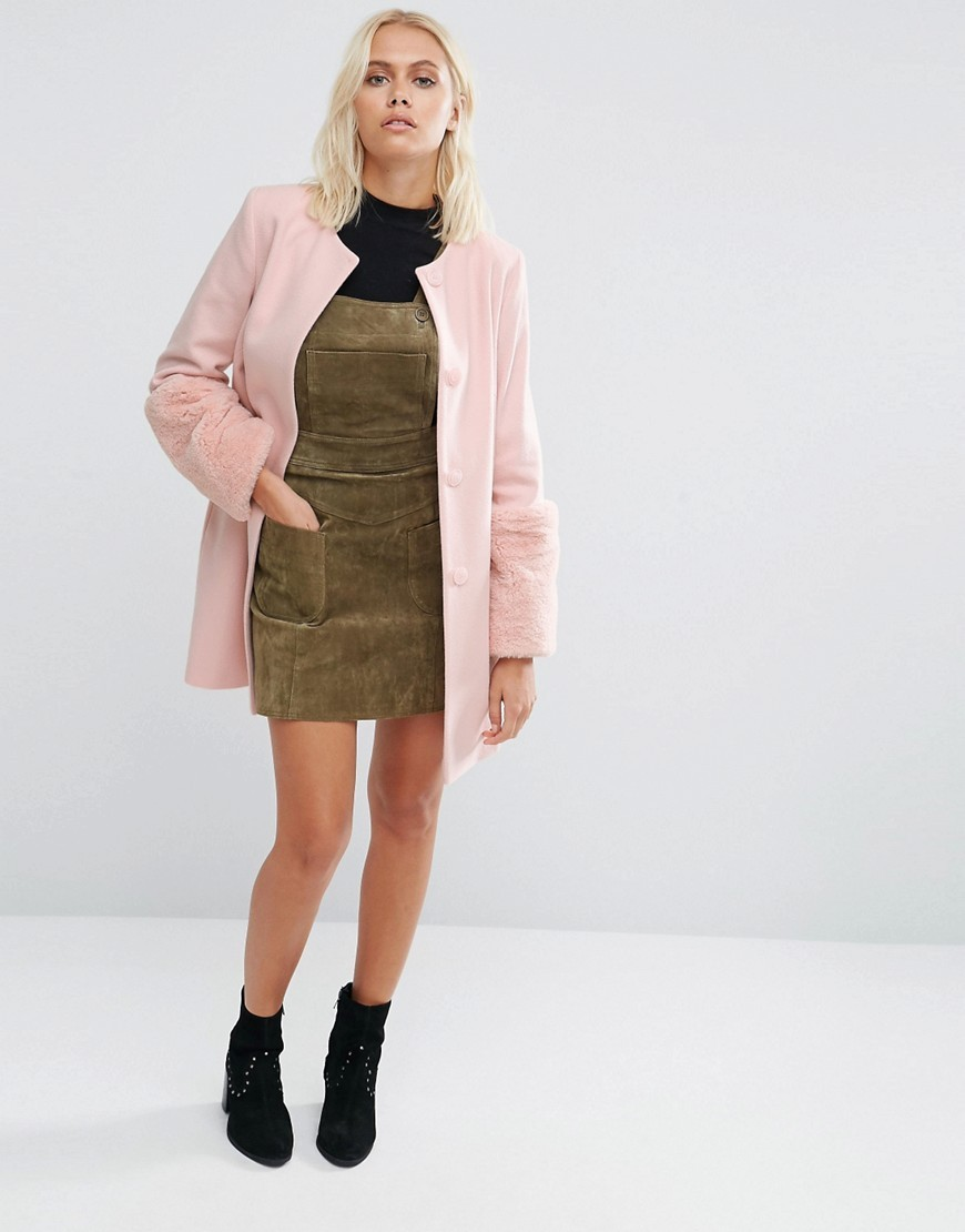 Faux Fur Cuff Coat In Pink Pale Pink - pattern: plain; collar: round collar/collarless; style: single breasted; length: on the knee; fit: slim fit; predominant colour: pink; occasions: casual; fibres: wool - mix; sleeve length: long sleeve; sleeve style: standard; texture group: knits/crochet; collar break: high; pattern type: fabric; embellishment: fur; season: a/w 2016; wardrobe: highlight