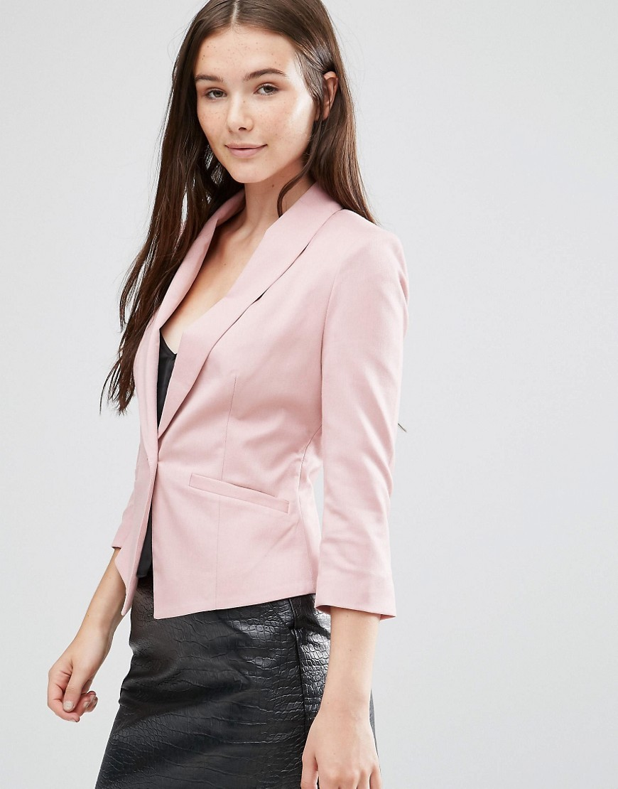 Evaline Blazer Wood Rose - pattern: plain; style: single breasted blazer; collar: standard lapel/rever collar; predominant colour: blush; occasions: casual, work; length: standard; fit: tailored/fitted; fibres: polyester/polyamide - stretch; sleeve length: 3/4 length; sleeve style: standard; collar break: medium; pattern type: fabric; texture group: woven light midweight; wardrobe: basic; season: a/w 2016