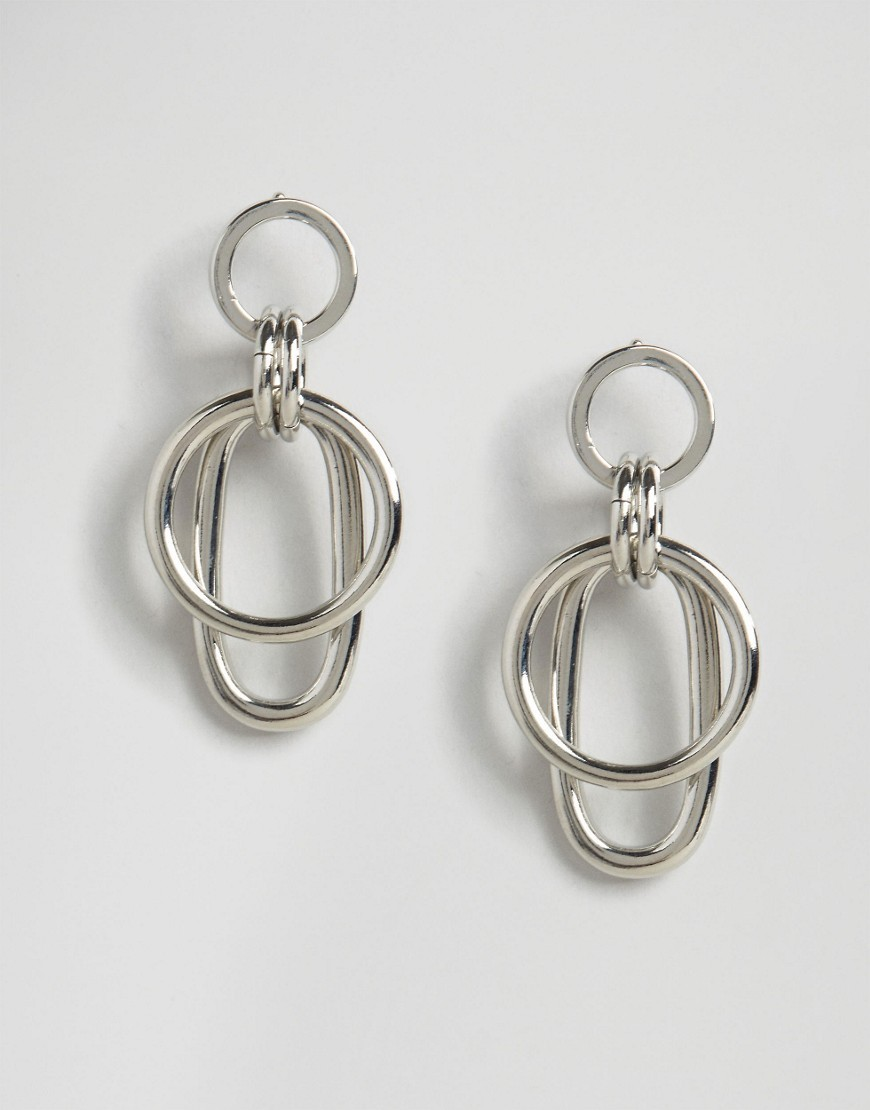 Geo Link Earrings Rhodium - predominant colour: silver; occasions: evening, occasion; style: drop; length: long; size: large/oversized; material: chain/metal; fastening: pierced; finish: metallic; season: a/w 2016