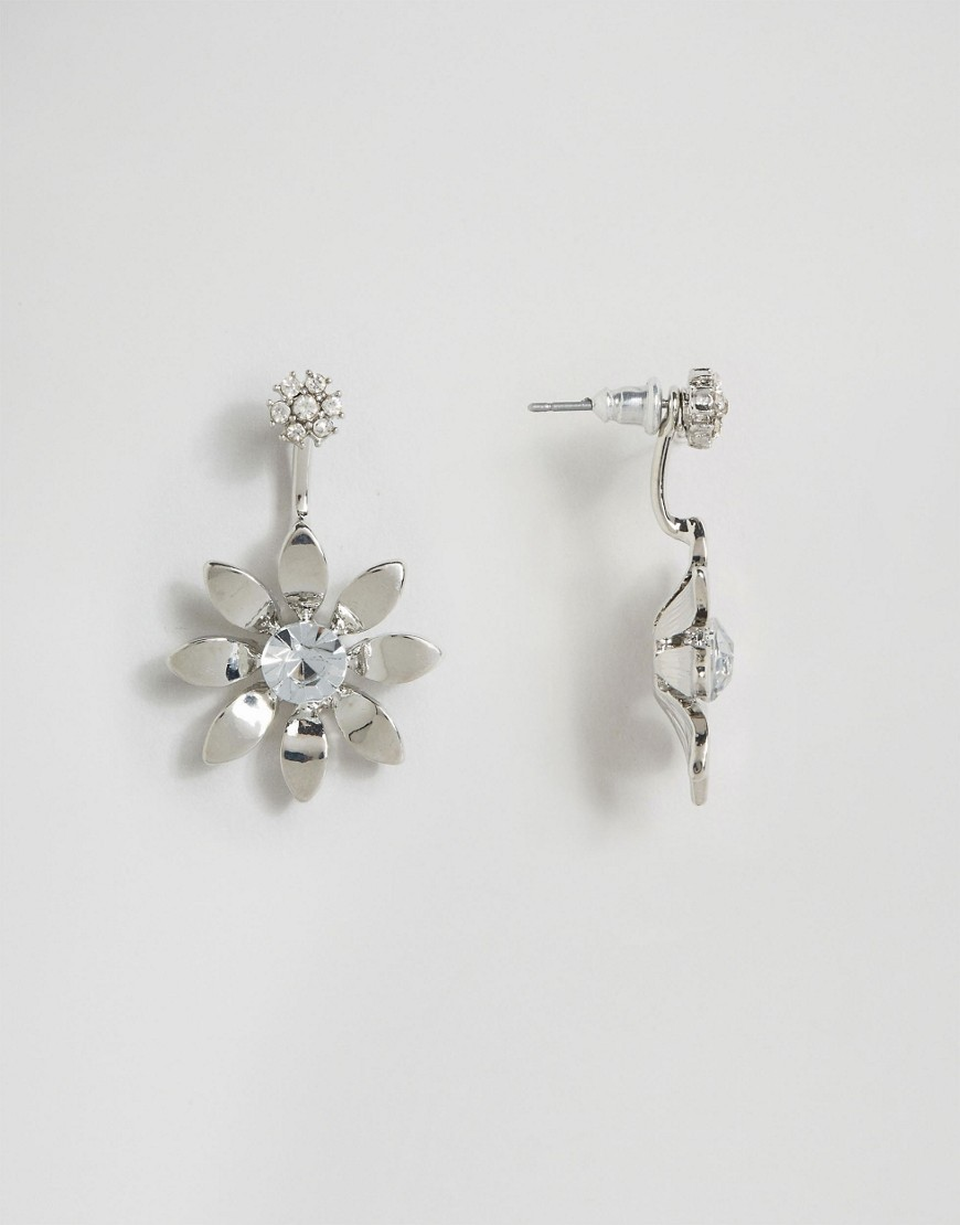 Metal Flower Swing Earrings Rhodium - predominant colour: silver; occasions: evening, occasion; style: drop; length: mid; size: standard; material: chain/metal; fastening: pierced; finish: metallic; embellishment: crystals/glass; season: a/w 2016; wardrobe: event