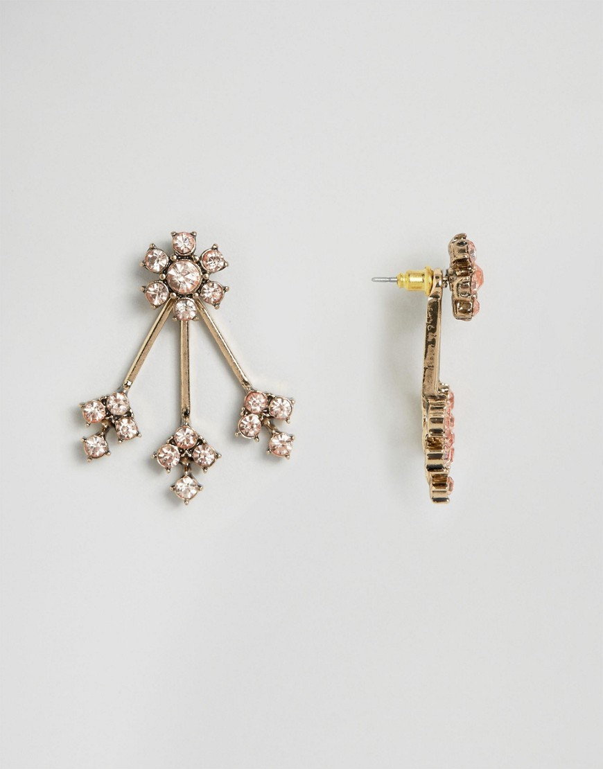 Crystal Flower Swing Earrings Peach - predominant colour: gold; occasions: evening, occasion; style: drop; length: long; size: standard; material: chain/metal; fastening: pierced; finish: metallic; embellishment: crystals/glass; secondary colour: clear; season: a/w 2016; wardrobe: event