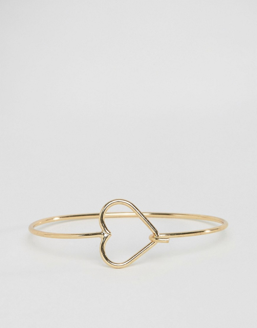 Open Heart Bracelet Gold - predominant colour: gold; occasions: evening; style: bangle/standard; size: standard; material: chain/metal; finish: metallic; season: a/w 2016; wardrobe: event