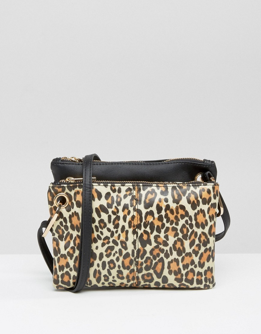 Double Compartment Leopard Print Cross Body Bag Multi - secondary colour: tan; predominant colour: black; occasions: casual, creative work; type of pattern: standard; style: shoulder; length: across body/long; size: standard; material: faux leather; pattern: animal print; finish: plain; season: a/w 2016; wardrobe: highlight