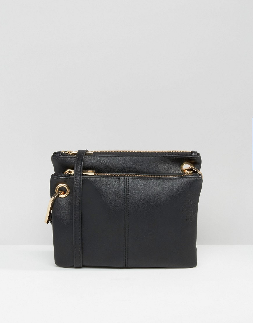 Double Compartment Cross Body Bag Black - predominant colour: black; occasions: casual, creative work; type of pattern: standard; style: messenger; length: across body/long; size: small; material: faux leather; pattern: plain; finish: plain; season: a/w 2016