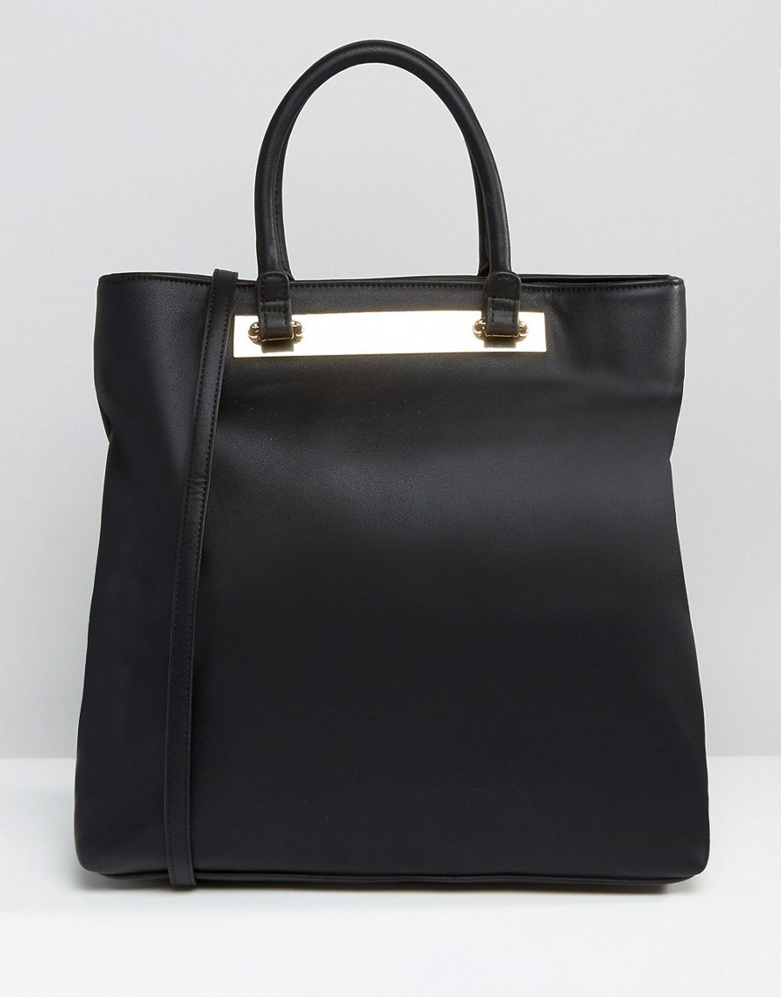 Metal Bar Tote Bag Black - predominant colour: black; occasions: casual, work, creative work; type of pattern: standard; style: tote; length: handle; size: oversized; material: faux leather; pattern: plain; finish: plain; wardrobe: investment; season: a/w 2016