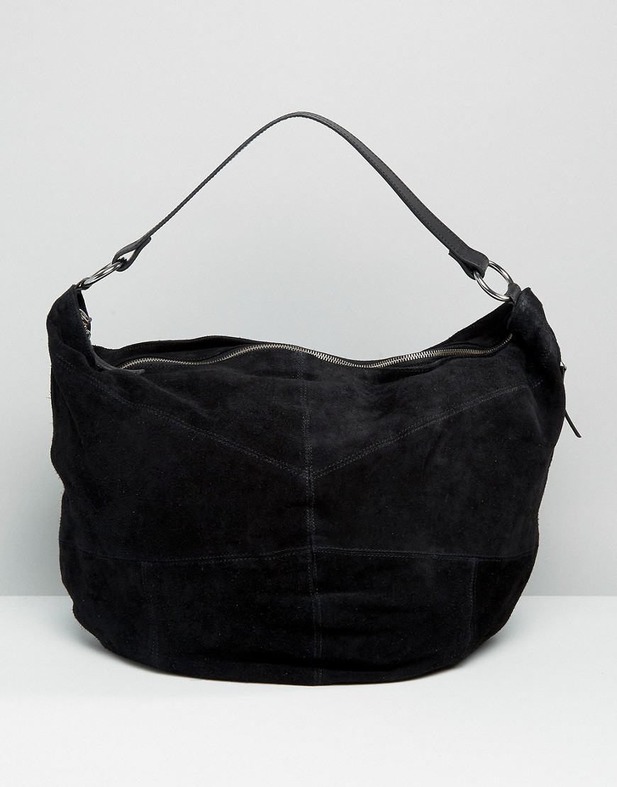 Oversized Suede Hobo Bag Black - predominant colour: black; occasions: casual, creative work; type of pattern: standard; style: shoulder; length: shoulder (tucks under arm); size: standard; material: suede; pattern: plain; finish: plain; season: a/w 2016