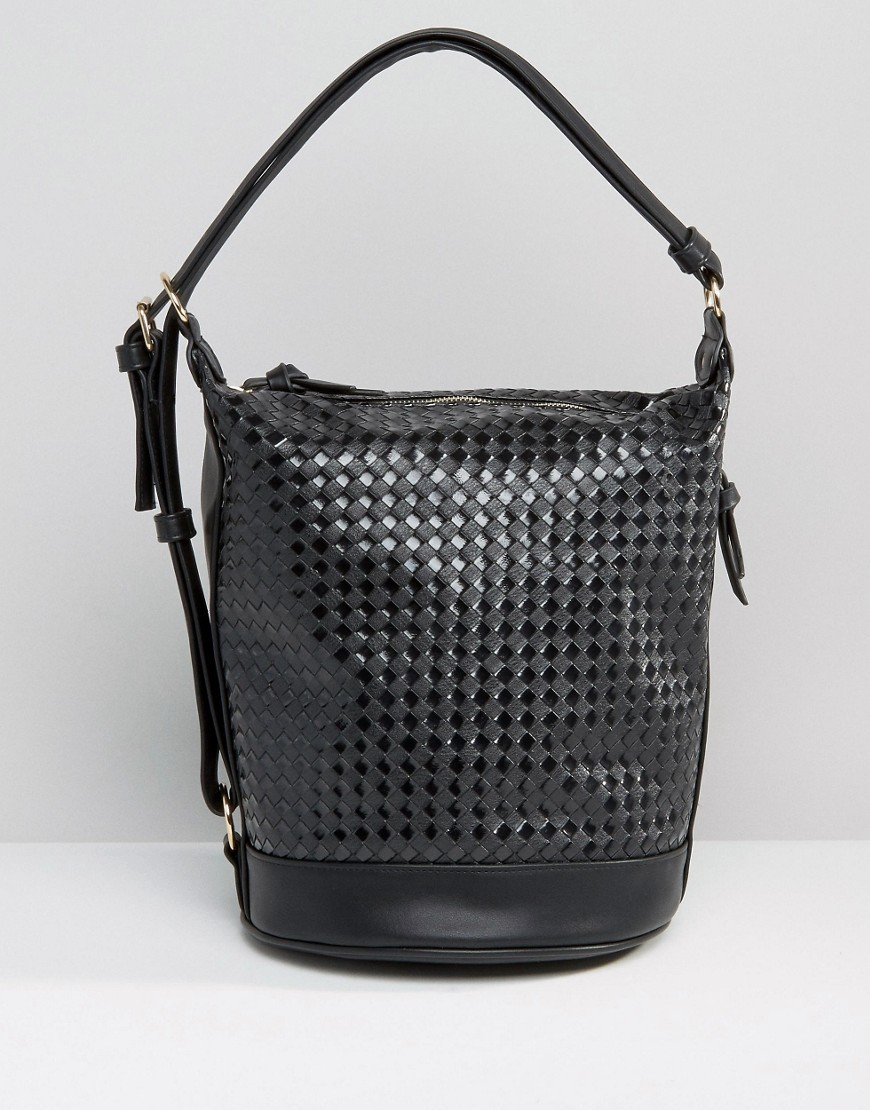 Weave Slouch Shoulder Bag Black - predominant colour: black; occasions: casual, creative work; type of pattern: standard; style: shoulder; length: shoulder (tucks under arm); size: standard; material: faux leather; pattern: plain; finish: plain; wardrobe: investment; season: a/w 2016