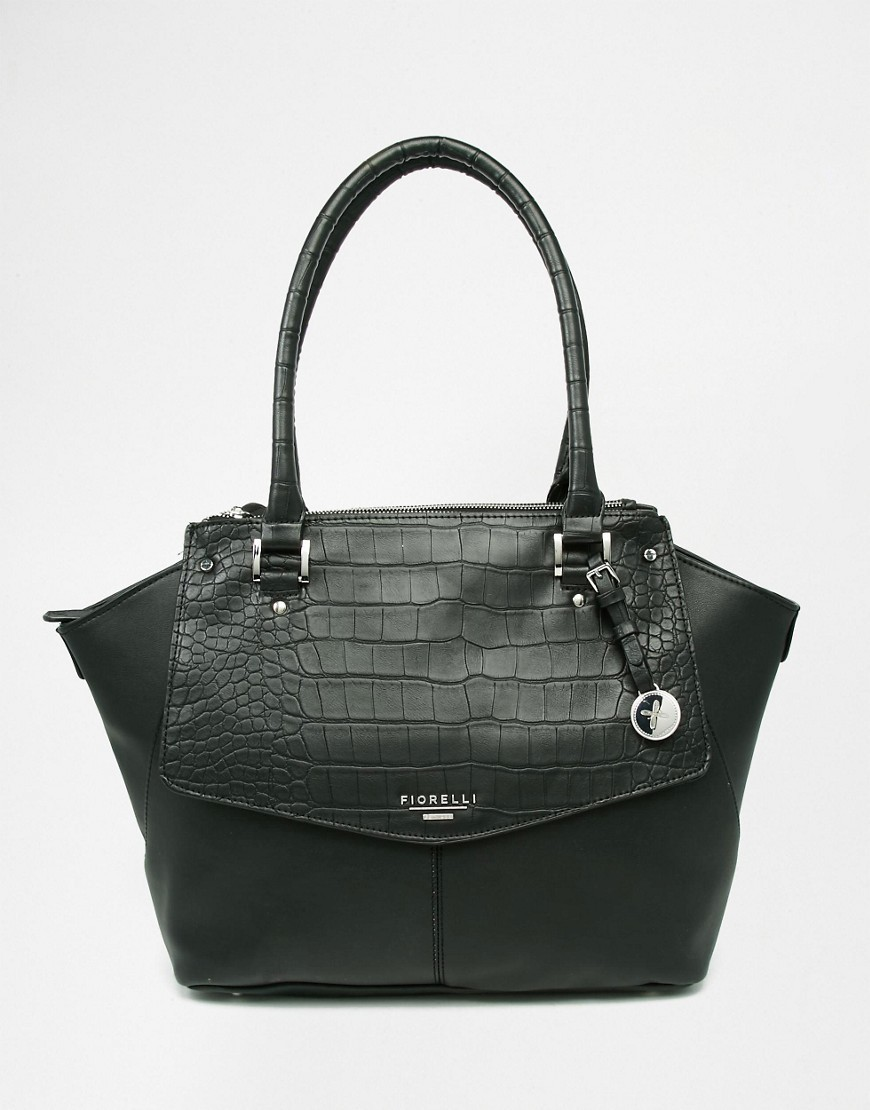 Tote Bag With Croc Black Croc - predominant colour: black; occasions: work; type of pattern: standard; style: tote; length: handle; size: standard; material: leather; pattern: plain; finish: plain; wardrobe: investment; season: a/w 2016
