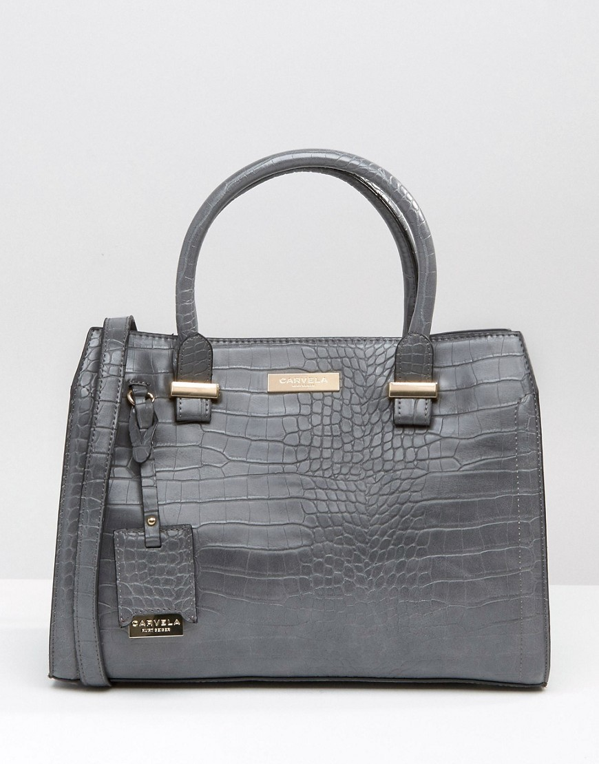 Tote Bag In Mock Croc Grey - predominant colour: mid grey; occasions: casual, creative work; type of pattern: standard; style: tote; length: handle; size: standard; material: leather; pattern: animal print; finish: plain; season: a/w 2016; wardrobe: highlight