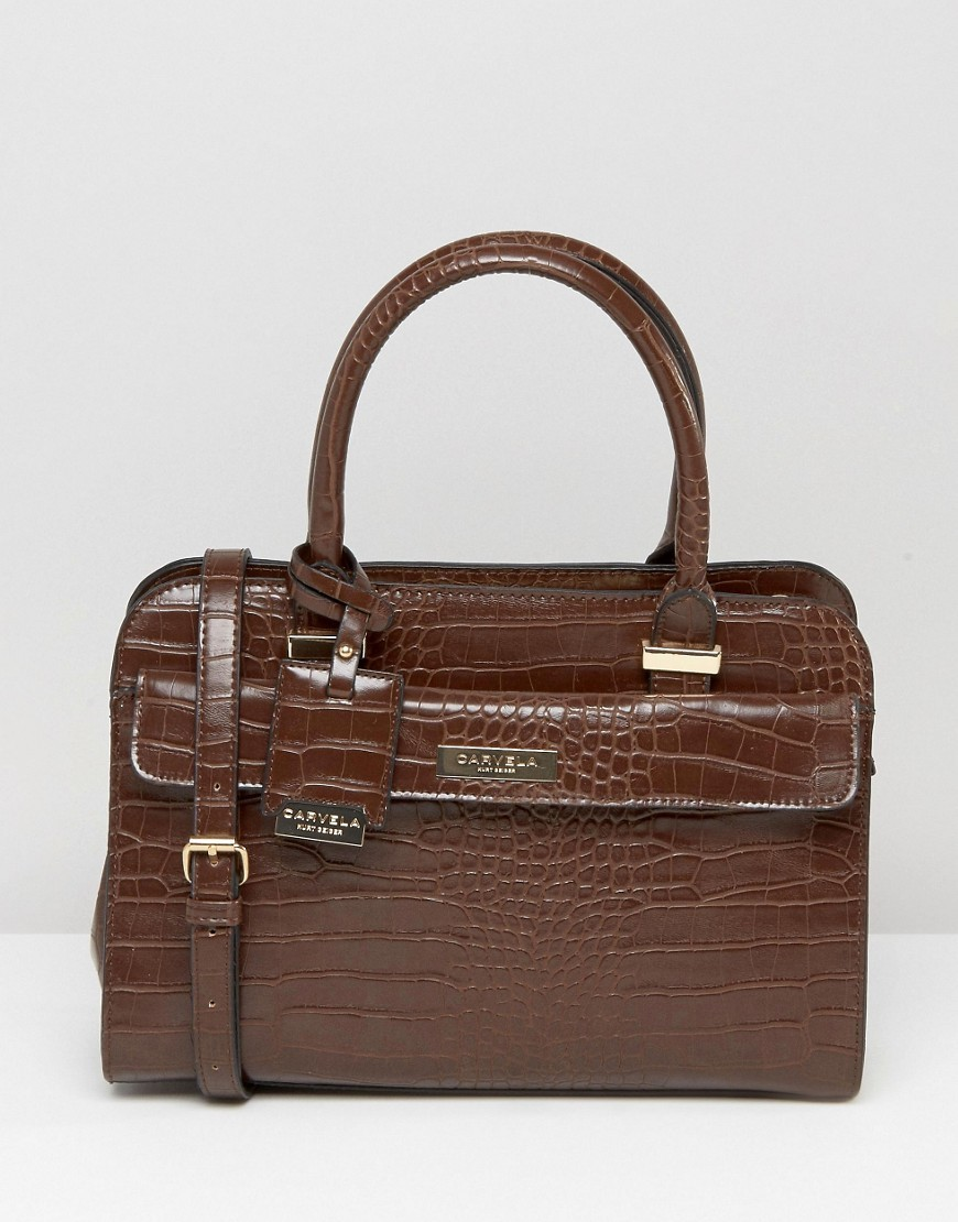 Tote Bag In Mock Croc Brown Croc - predominant colour: chocolate brown; occasions: casual, work, creative work; type of pattern: standard; style: tote; length: handle; size: standard; material: faux leather; pattern: animal print; finish: plain; season: a/w 2016; wardrobe: highlight