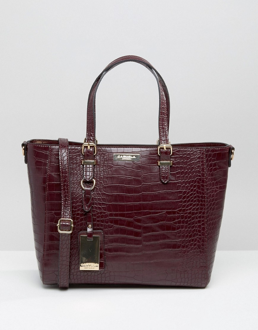 Mock Croc Tote Bag Wine Croc - predominant colour: aubergine; occasions: casual, work, creative work; type of pattern: standard; style: tote; length: handle; size: oversized; material: faux leather; pattern: animal print; finish: plain; season: a/w 2016; wardrobe: highlight