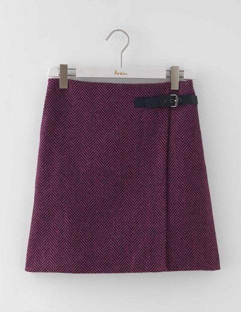 Irene Kilt Skirt Purple Herringbone Women, Purple Herringbone - length: mid thigh; pattern: plain; fit: loose/voluminous; waist detail: belted waist/tie at waist/drawstring; waist: mid/regular rise; predominant colour: purple; occasions: casual, creative work; style: a-line; fibres: wool - 100%; pattern type: fabric; texture group: woven light midweight; season: a/w 2016; wardrobe: highlight