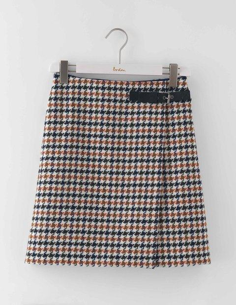 Irene Kilt Skirt Orange Dogtooth Women, Orange Dogtooth - pattern: checked/gingham; fit: loose/voluminous; waist detail: belted waist/tie at waist/drawstring; waist: mid/regular rise; predominant colour: bright orange; secondary colour: chocolate brown; occasions: casual, creative work; length: just above the knee; style: a-line; fibres: wool - 100%; pattern type: fabric; texture group: woven light midweight; multicoloured: multicoloured; season: a/w 2016; wardrobe: highlight