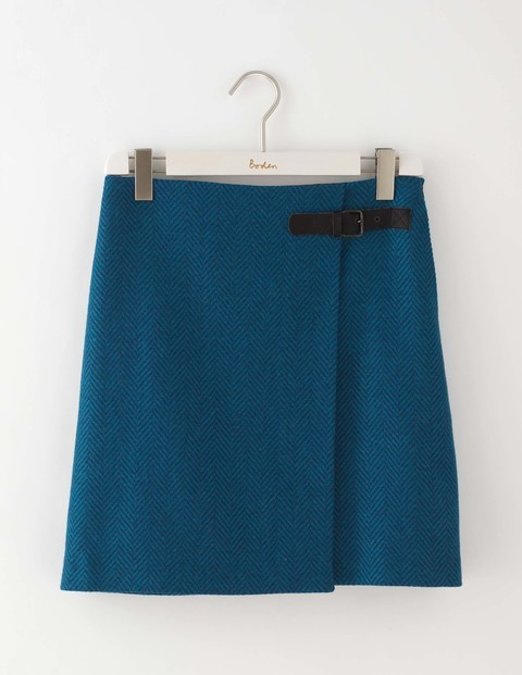 Irene Kilt Skirt Blue Herringbone Women, Blue Herringbone - length: mid thigh; pattern: plain; fit: loose/voluminous; waist detail: belted waist/tie at waist/drawstring; waist: mid/regular rise; predominant colour: royal blue; occasions: casual, creative work; style: a-line; fibres: wool - 100%; pattern type: fabric; texture group: woven light midweight; season: a/w 2016; wardrobe: highlight