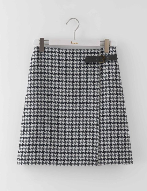 Irene Kilt Skirt Black Dogtooth Women, Black Dogtooth - length: mid thigh; pattern: checked/gingham; fit: loose/voluminous; waist detail: belted waist/tie at waist/drawstring; waist: mid/regular rise; secondary colour: ivory/cream; predominant colour: black; occasions: casual, creative work; style: a-line; fibres: wool - 100%; pattern type: fabric; texture group: woven light midweight; multicoloured: multicoloured; season: a/w 2016; wardrobe: highlight